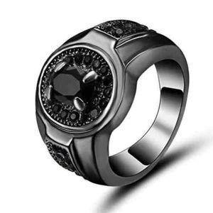Vintage oval Black Zircon Ring 10KT Black Gold 9